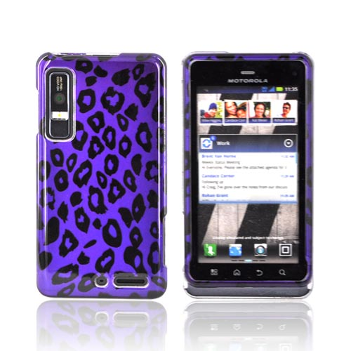 Motorola Droid 3 Hard Case - Purple/ Black Leopard