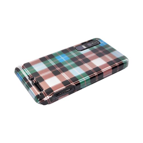Motorola Droid 3 Hard Case - Plaid Pattern of Blue/ Brown/ Silver