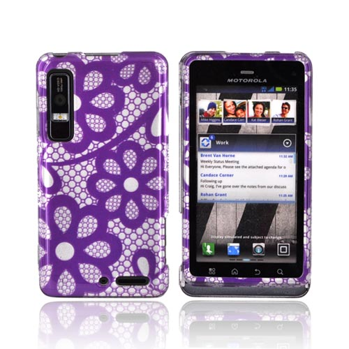 Motorola Droid 3 Hard Case - Purple Lace Flowers on Silver