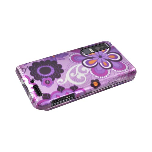 Motorola Droid 3 Hard Case - Dark Purple/ Magenta Retro Flowers on Light Purple