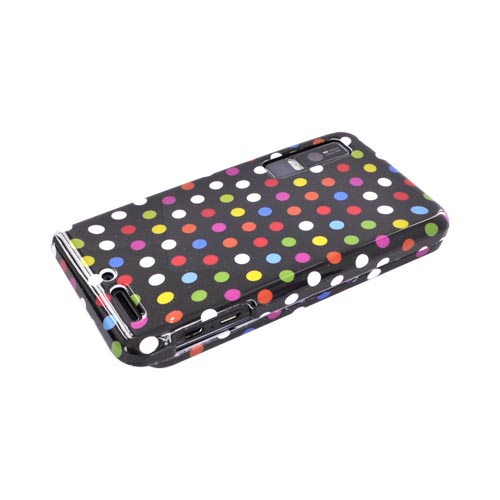 Motorola Droid 3 Hard Case - Rainbow Polka Dots on Black