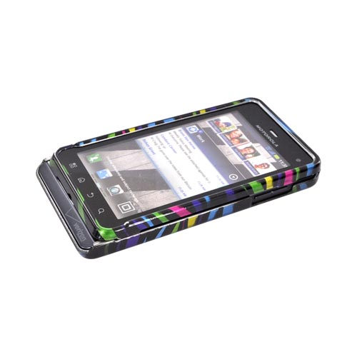 Motorola Droid 3 Hard Case - Rainbow Zebra on Black