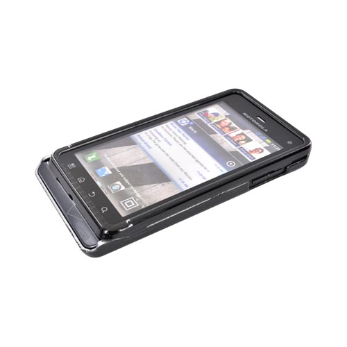 Motorola Droid 3 Hard Case - Silver Lines on Black