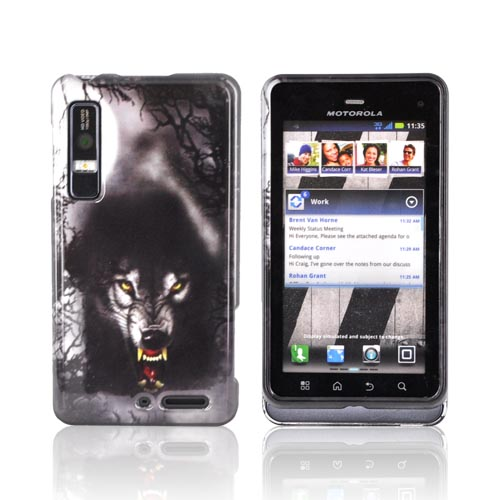 Motorola Droid 3 Hard Case - Gray Wolf on Silver/ Black