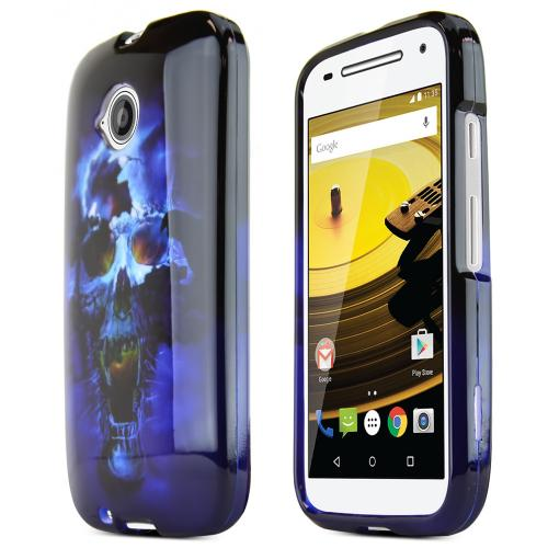 Moto E 2nd Gen Case, [Blue Skull] Ultra Thin Snap-On Plastic Case for Motorola Moto E 2nd Gen
