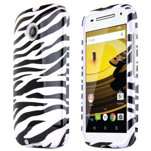 Moto E 2nd Gen Case, [Black/White Zebra] Ultra Thin Snap-On Plastic Case for Motorola Moto E 2nd Gen
