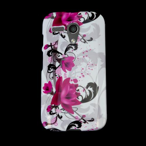 Magenta Flowers w/ Black Vines on White Hard Case for Motorola Moto G