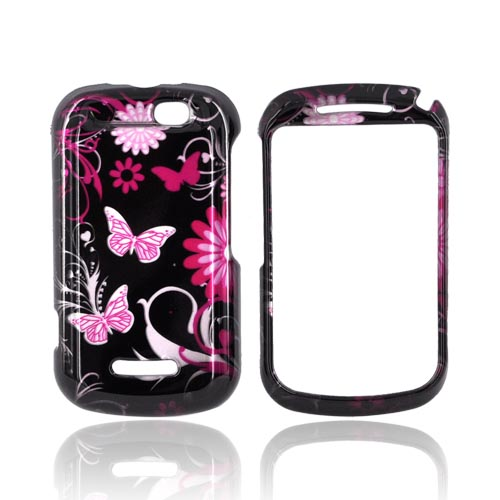 Motorola Clutch+ i475 Hard Case - Pink Flowers & Butterflies on Black