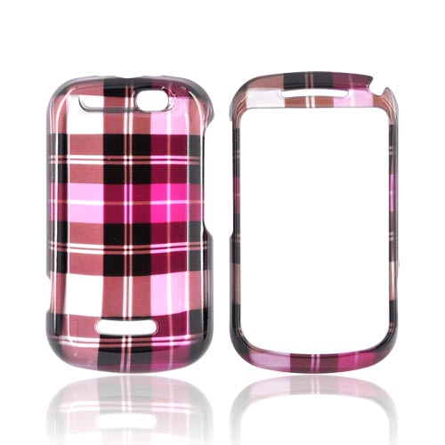Motorola Clutch+ i475 Hard Case - Plaid Pattern of Pink/ Hot Pink/ Brown/ Gray