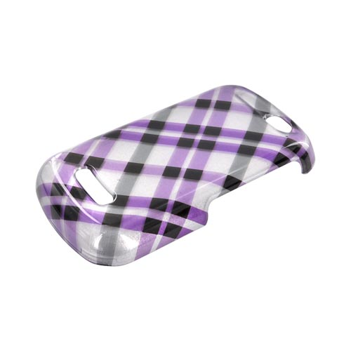 Motorola Clutch+ i475 Hard Case - Purple/ Gray Plaid on Silver
