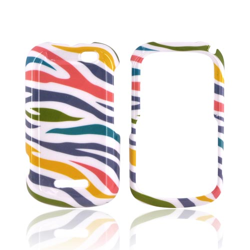 Motorola Clutch+ i475 Hard Case - Rainbow Zebra on White