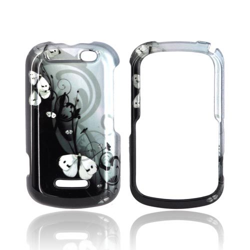 Motorola Clutch+ i475 Hard Case - White Butterflies on Teal/ Black