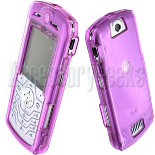 Motorola SLVR L7 Transparent Purple Hard Cover Case