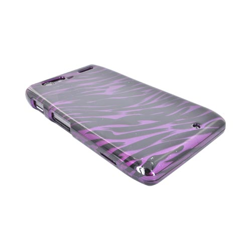 Motorola Droid RAZR MAXX Hard Case - Purple/ Black Zebra