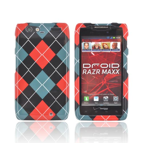Motorola Droid RAZR MAXX Hard Case - Red/ Black/ Gray Argyle