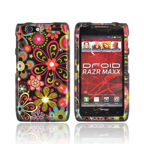 Motorola Droid RAZR MAXX Hard Case - Pink/ Orange Retro Flowers on Black
