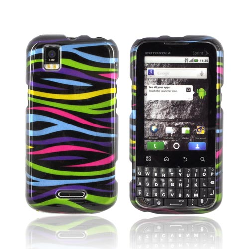 Motorola XPRT MB612 Hard Case - Rainbow Zebra on Black