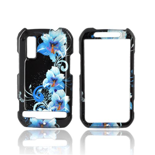 Motorola Photon 4G Hard Case - Blue Flowers on Black