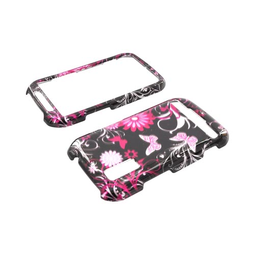 Motorola Photon 4G Hard Case - Pink Butterflies & Flowers on Black