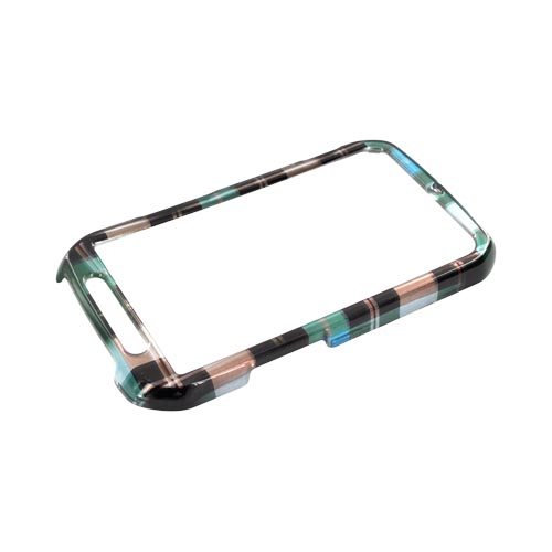 Motorola Photon 4G Hard Case - Plaid Pattern of Blue, Brown, & Silver