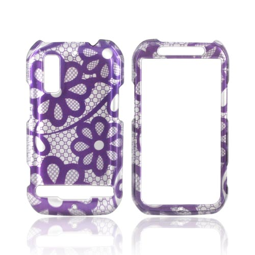 Motorola Photon 4G Hard Case - Purple Lace Flowers on Silver