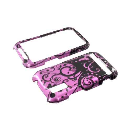 Motorola Photon 4G Hard Case - Black Swirl Design on Purple