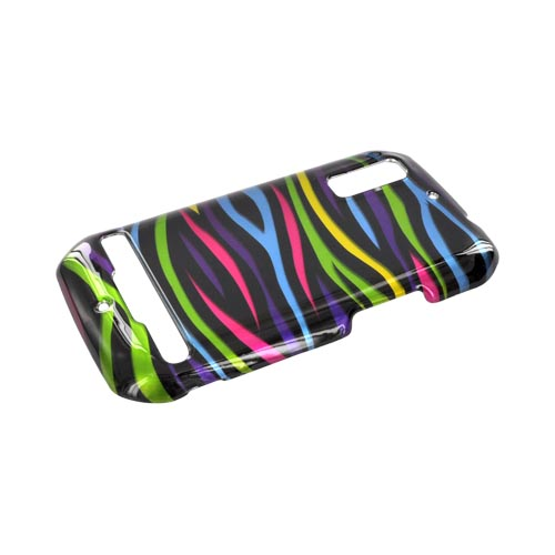 Motorola Photon 4G Hard Case - Rainbow Zebra on Black