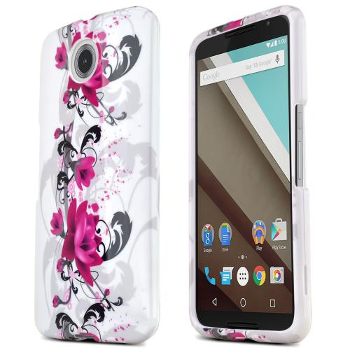 Motorola Nexus 6 Protective Slim Hard Case Cover [Magenta Flowers / White] [Ultra Slim and Perfect Fitting Motorola Nexus 6 Case]