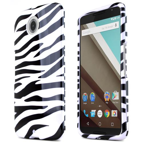 Motorola Nexus 6 Protective Slim Hard Case Cover [Zebra Design] [Ultra Slim and Perfect Fitting Motorola Nexus 6 Case]