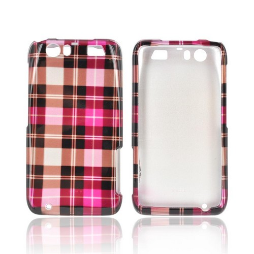 Motorola Atrix HD Hard Case - Plaid Pattern of Pink/ Hot Pink/ Brown/ Gray
