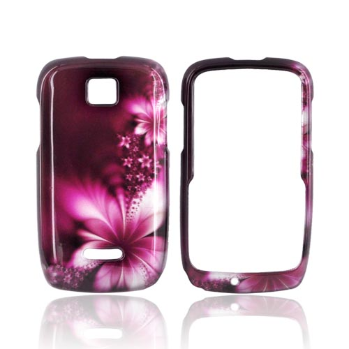 Motorola Theory Hard Case - Pink Flowers on Maroon