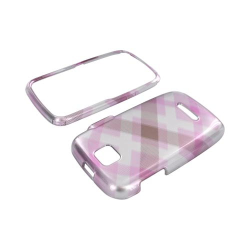 Motorola Theory Hard Case - Plaid Pattern of Baby Pink & Brown on Silver