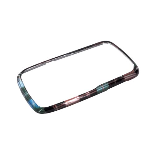 Motorola Theory Hard Case - Plaid Pattern of Blue/ Brown/ Silver