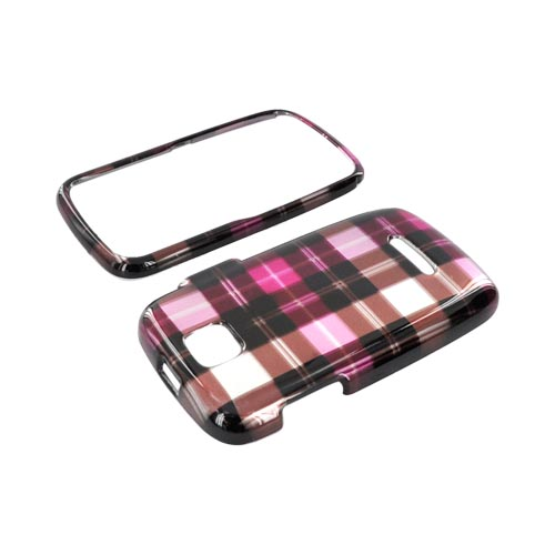 Motorola Theory Hard Case - Plaid Pattern of Pink/ Hot Pink/ Brown/ Silver