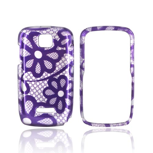 Motorola Theory Hard Case - Purple Lace Flowers on Silver
