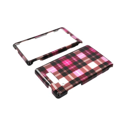 Motorola Triumph Hard Case - Plaid Pattern of Pink, Hot Pink, Brown, & Silver