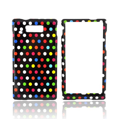 Motorola Triumph Hard Case - Rainbow Polka Dots on Black