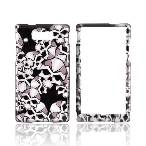 Motorola Triumph Hard Case - Silver Skulls on Black