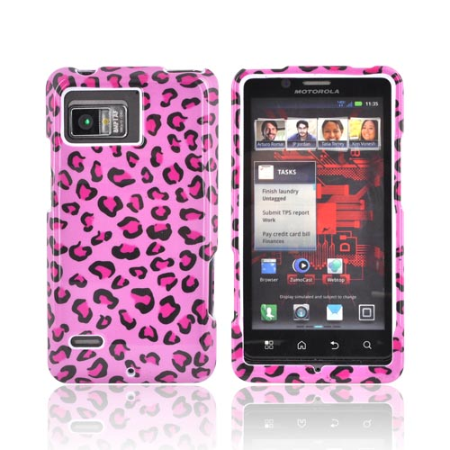 Motorola Droid Bionic XT875 Hard Case - Hot Pink Leopard on Pink