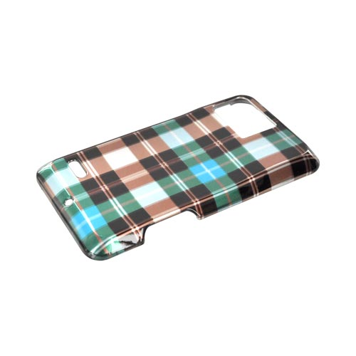 Motorola Droid Bionic XT875 Hard Case - Plaid Pattern of Blue/ Brown/ Silver