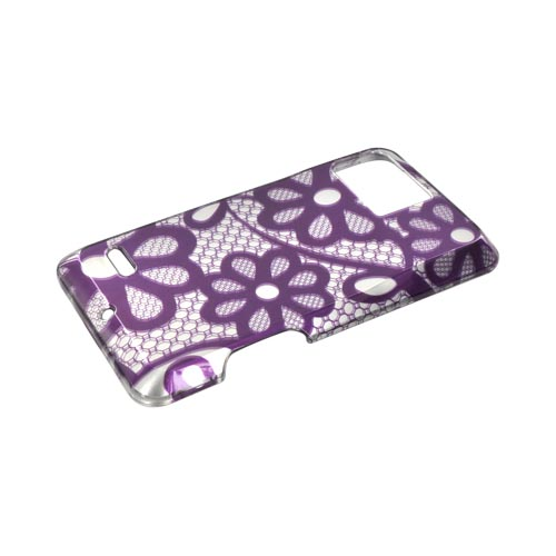 Motorola Droid Bionic XT875 Hard Case - Purple Lace Flowers on Silver