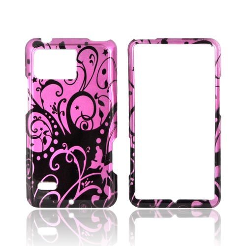 Motorola Droid Bionic XT875 Hard Case - Black Swirl Designs on Purple
