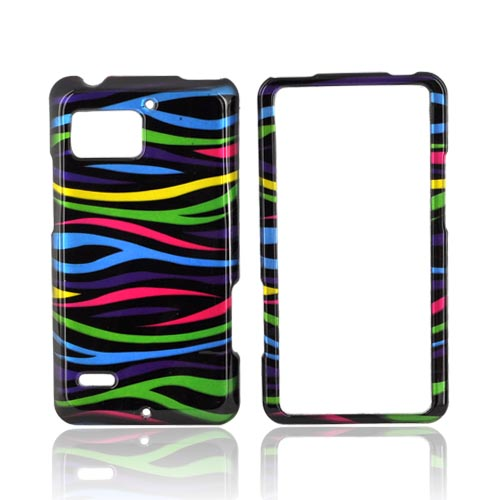 Motorola Droid Bionic XT875 Hard Case - Rainbow Zebra on Black