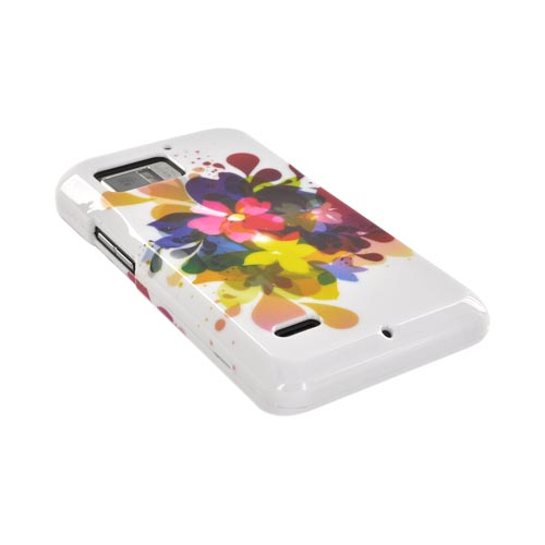 Motorola Droid Bionic XT875 Hard Case - Colorful Water Flowers on White