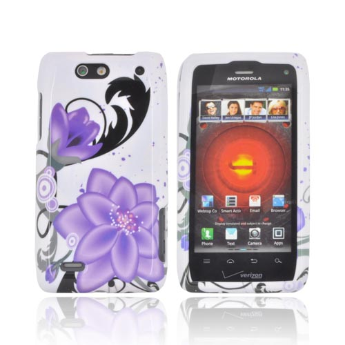 Motorola Droid 4 Hard Case - Purple Lilies on White