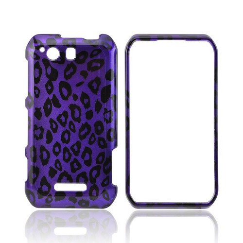 Motorola Photon Q 4G LTE Hard Case - Purple/ Black Leopard