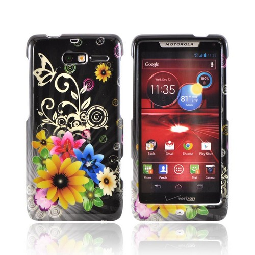 Motorola Droid RAZR M Hard Case - Colorful Flowers on Black