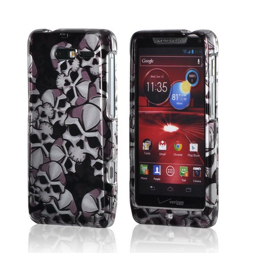 Black/ Silver Skulls Hard Case for Motorola Droid RAZR M