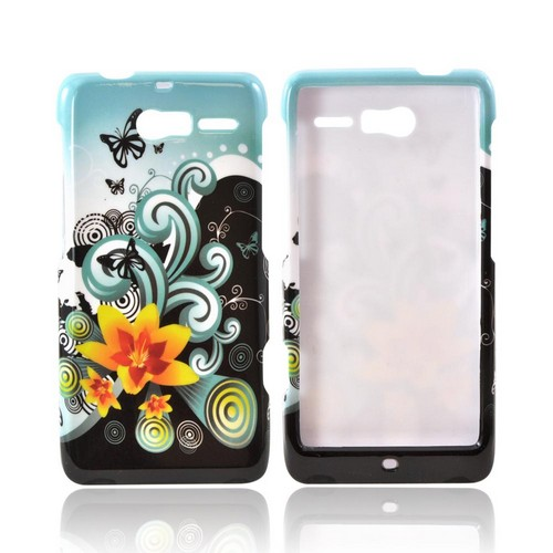 Motorola Droid RAZR M Hard Case - Yellow Lily w/ Swirls on Turquoise/ Black