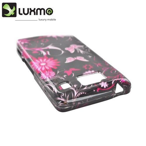 Motorola Droid RAZR HD Hard Case - Pink Flowers & Butterflies on Black